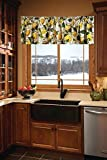 White and Yellow Kitchen Curtain Valance, Lemon Pattern Kitchen Curtain, Classic Kitchen Curtains (42-43 Inches Wide x 14.75 Inches Long)