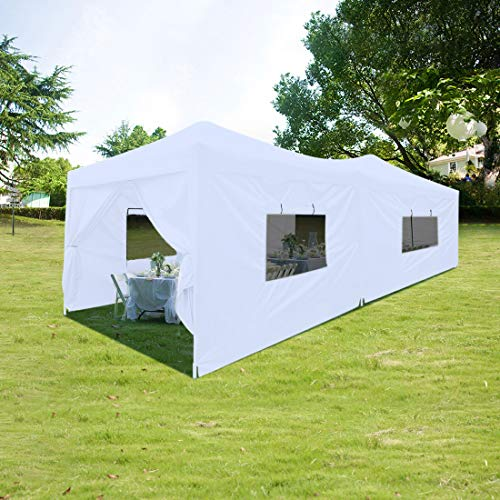 Quictent Privacy 10x20 ft Ez Pop up Canopy Tent Enclosed Instant Shelter Party Tent Event Gazebo with Sidewalls Waterproof (White)