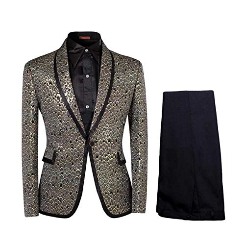 Cloud Style Men Notched Lapel Center-Vent One-Button Blazer Suits Jackets and Trousers Golden XXX-Large