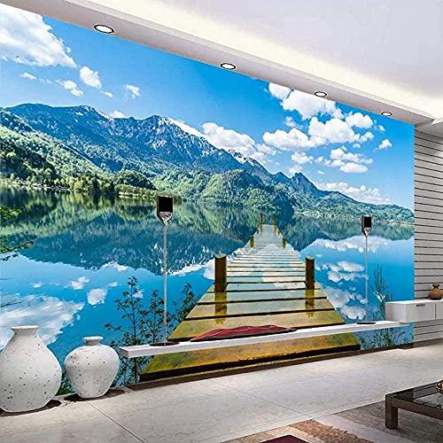 FTFTO Wohnausstattung Blue Sky Wandbild Wallpaper White Cloud Holzbrücke 3D Lake Water Natürliche Landschaft Creative Space Wandbild-200x140cm