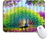NINEHASA 可愛いマウスパッド ファンタジーの森水彩孔雀の羽動物カラフルな不思議の国の花春の風景 ノンスリップゴムバッキングコンピューターマウスパッドノートブックマウスマット