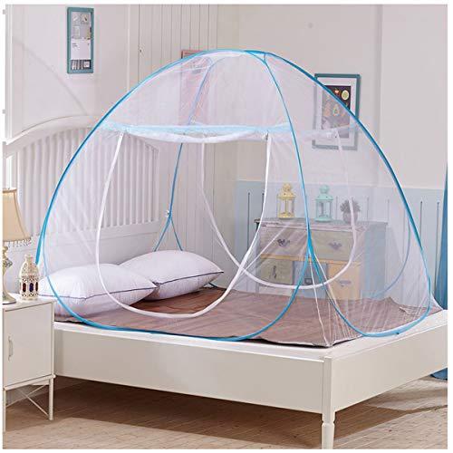 Yangm Opvouwbaar muggennet Easy Bed pop-up tent installatie netwerktuig 2 vermeldingen eenvoudige installatie voor thuis en op reis voor kinderen volwassenen blauwe rand