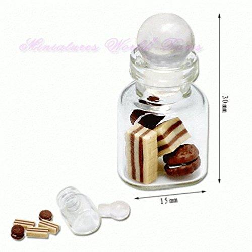 Miniatures World - Glazen pot gevuld met handgemaakte snoepjes voor miniatuurdecoraties en poppenhuizen op schaal 1:12