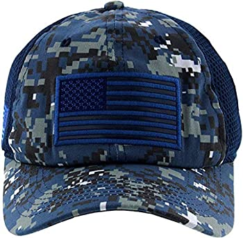 Altis Apparel American US Military Embroidered Flag Soft Mesh Hat Trucker Cap  Navy Dig Camo