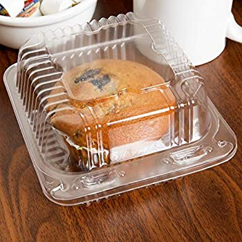 25 Clear Plastic Containers 5  X 5  X 3.25  Square To Go Bakery Cookie Boxes For Packaging Clear Hinged Lid Plastic Food Take Out Containers Clamshell Sandwich - Cake – Dessert – Pastry Treat Boxes