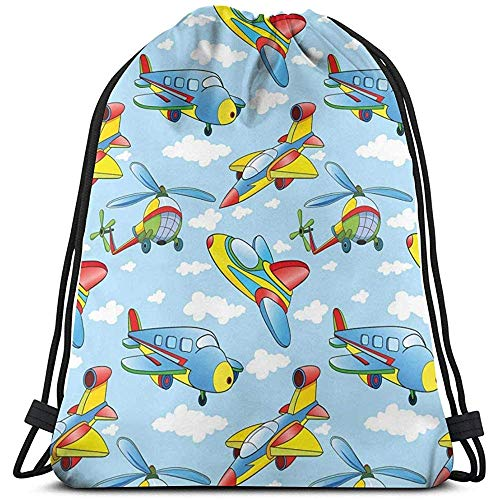 BOUIA Trekkoord Rugzak Tassen Sport Gym Cinch Tas, Cartoon Vliegtuigen En Helikopters In De Lucht Tussen Wolken Kwekerij Speelgoed Artwork