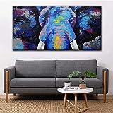 Arte de la pared Impresiones África Elefante Animal Pintura al óleo sobre lienzo Cartel de arte pop e impresión Imagen de pared de arte abstracto para habitación 50X100cm Sin marco