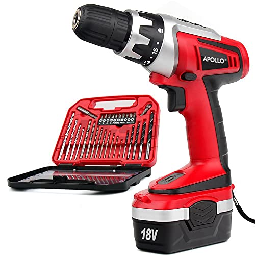 Hi-Spec 31 Piece 18V Cordless Electric Drill Driver with 1000mAh Battery. Rechargeable Power Screw Driving & Drilling in Wood, Plastics & Metal. Includes Multi Bit Accessory Set