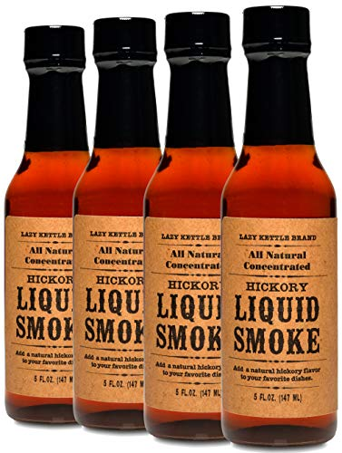 Lazy Kettle Brand All Natural Liquid Smoke | Perfect for Flavoring Meat | Hickory | Used to Flavor Beef Jerky, Steak, Fish, Cheese, Sauces and More | Pack of 4 bottles 5 Oz Each