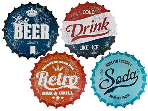 Bada Bing 4er Tischset Unterlage Kronkorken Beer Rund Ø 38 cm Retro Werbeschild 4fach Sortiert 45