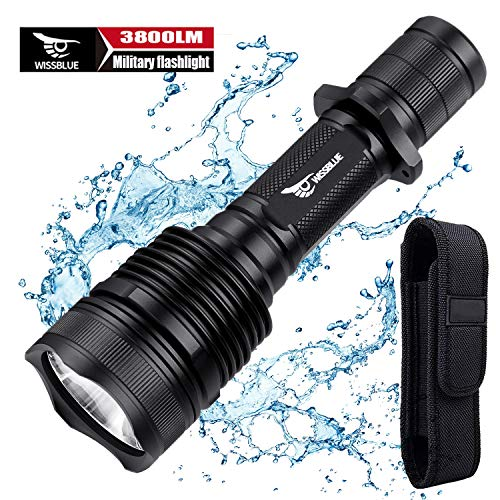 WISSBLUE H1 3800 Lumen Rechargeable Tactical LED Flashlight Military Grade With Leather Holster, Tactical Flashlight High Lumens for Hiking, Camping, Hunting