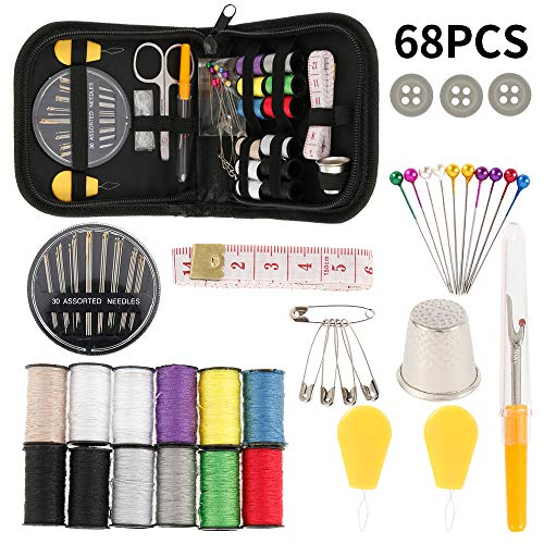 68 PCS Sewing Kits for Adults Beginners Professional DIY Sewing Supplies for Home Travel with Sewing Needles Scissors Thimble Thread Tape Measure
