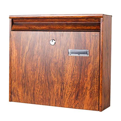 HWF Briefkasten Wandbriefkästen Antike Briefkasten/Postfach/Mail-Box, Wandmontage-Postfach der Englischen Art, Personalisierte Abschließbare Postbox, Retro-Holzkornfarbe