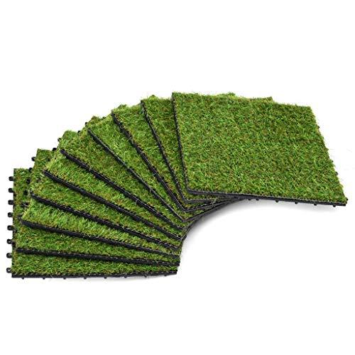 Festnight Kunstrasen-Fliesen 10 STK. Rasenfliesen Terassenfliesen 30 x 30 cm Grün für Garten Balkon Terrasse