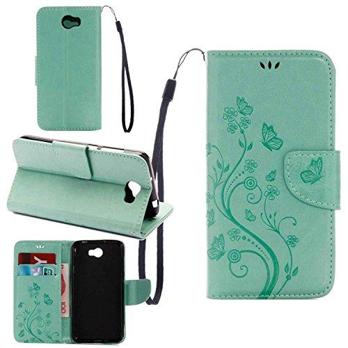 pinlu Funda para Huawei Y5 II Función de Plegado Flip Wallet Case Cover Carcasa Piel PU Billetera Soporte con Ranuras Mariposa Flores Verde