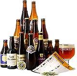 Assortiment de bières - Idée cadeau - Découverte de la bière - Dégustation (Coffret 13 bières trappistes et 1 verre) - Idée cadeau Fête des Pères