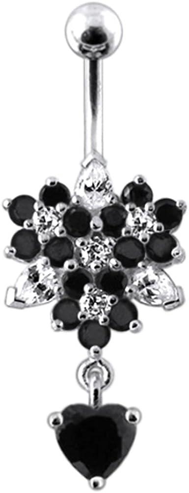 AtoZ Piercing Fancy Triple Flower 925 with Luxury Recommendation Sterli Heart Dangling