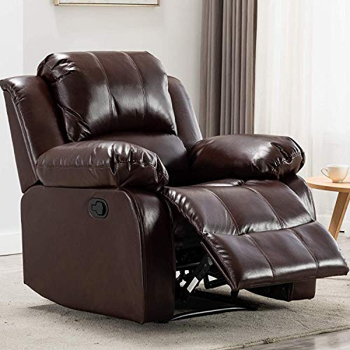 ANJ Recliner Chair Overstuffed Heavy Duty Recliner, Breathable Bonded Leather Home Theater Seating - Manual Chairs Recliner Single Sofa, Brown