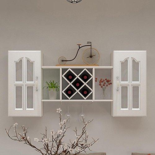 TUNBG Hölzerne Weinregal Wand hängen modernen minimalistischen europäischen Wand Weinschrank mit Tür hängen Regal dekorative Rahmen, a