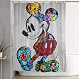 N \ B Bunter Duschvorhang mit Micky-Maus-Motiv, Dekoration für Männer, Frauen, Jungen, Mädchen, 152,4 x 182,9 cm