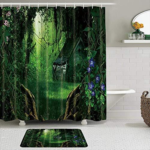 MANISENG Duschvorhang-Sets mit rutschfesten Teppichen,Zauberwald, Badematte + Duschvorhang mit 12 Haken