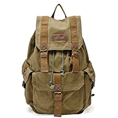 100-Percent Pure Cotton Thick Canvas Backpack With Durable Metal Fastenings;Garment Washed For Vintage Look And Enhances Soft Hand Feel This High Density Canvas Backpack Features A Classic Shape With Several Pockets For Storage And Organization; Ampl...