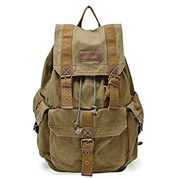Gootium 21101AMG Specially High Density Thick Canvas Backpack Rucksack Army Green Large