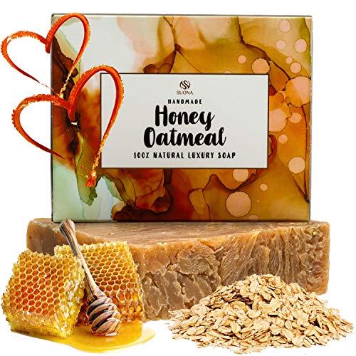 Oatmeal Honey Goat Milk Soap - Organic Exfoliating Skincare Bar for...