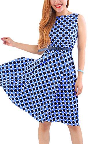 YMING Damen Partykleid Leichtes Sommerkleid Knielanges Cocktailkleid Ärmellos Midikleid Blau Polka Dot M