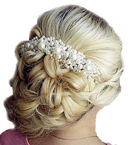 Unbekannt Tiara Diadem Perlen Perlenschmuck Blumen Krone Krönchen Strass Haarschmuck Stirnschmuck Blüten Braut Hochzeit