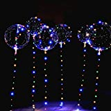 6 Packs LED Light Up BoBo Balloons,10 PCS Transparent Balloons,3 Levels Flashing LED String Lights,20 Inches Bubble Balloons Helium Style, for Birthday Party Decoration