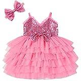 Cilucu Infant Flower Girls Dress Newborn Baby Sequin Tutu Dresses Kids Princess A-line Dress for Wedding Bridesmaid Girls Gown Pink Valentine's Day Dress Size 0-6 Months