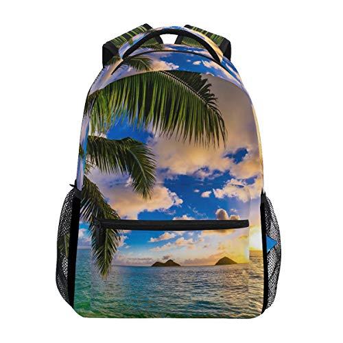 WowPrint Sac à dos pour l'école, la randonnée, les voyages - Motif palmier hawaïen