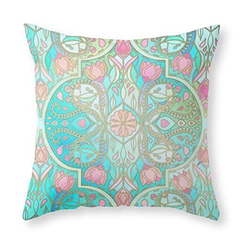 Federa per cuscino, motivo floreale marocchino in primavera pastelli acqua, rosa, menta e pesca, federa quadrata per cuscino 45,7 x 45,7 cm, per divano letto, auto e decorazione per la casa