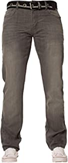 New Mens ENZO Stonewash Straight Regular Fit Classic Basic Denim Jeans Pants with Free Belt