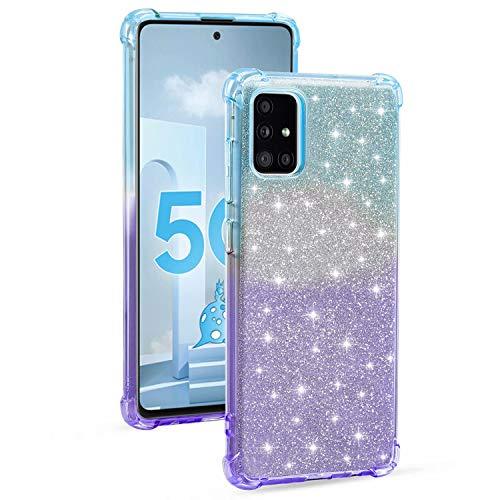 Miagon Weich Gradient Hülle für Samsung Galaxy A51,Schlank Stoßfest 2 im 1 Flexibel Handyhülle Stoßstange Schutzhülle Glitzer Cover Mädchen Frauen,Blau Lila