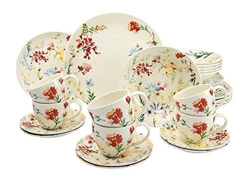 Creatable 19721Serie Spring Floral, Vajilla, Porcelana, Multicolor, 40x 32,5x 32,5cm, 30Unidades