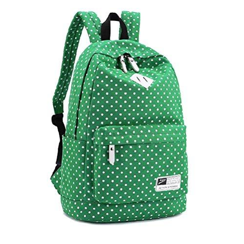 Der reizende Polka-Punkt-Leinwand-Schulrucksack der Frauen haben das Specialized Mezzanine, das Laptop unter 14-Zoll halten kann (Grün)