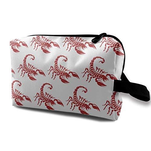 XCNGG Bolsas de maquillaje para mujer Bolsa de cosméticos de viaje portátil multiusos con cremallera Red Scorpion