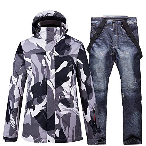 Outdoor Heren Ski Wear Ski Suit Winter Winddicht Waterdichte Verdikte Voering Warm Snowboard Dubbele Snowboard Ski Jas Ski Broek Set Grijze Jas + Zwarte Jeans