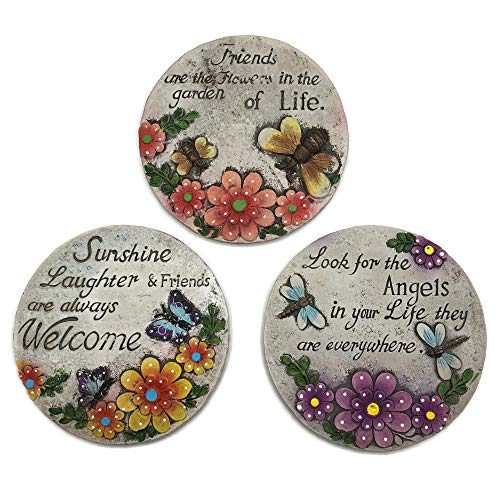 Decorative Stepping Stones for Garden Bundle: Three Items: Set of 3 Decorative Stepping Stones
