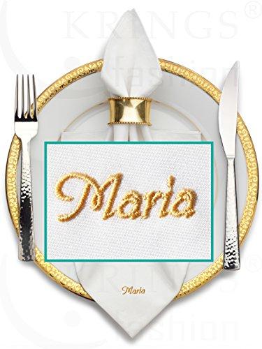 Stoffserviette mit Name hochwertig bestickt; Serviettenfarbe weiß, Größe 50 x 50 cm; Mitteilung Name/Wunschbegriff per E-Mail, siehe Produktbeschreibung