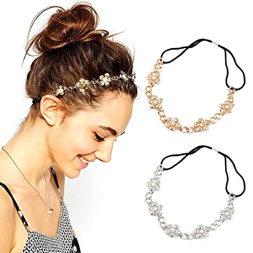 Zasjon elastisches haarband perlen, 2 stück blumen haarschmuck haarreif perlen strass stirnbänder damen haarreifen vintage metall haarband elegant kopfkette haarschmuck für frauen damen