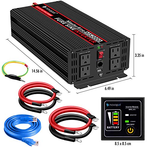Novopal Pure Sine Wave Power Inverter 2000 Watt 12V DC to 110V/120V AC Converter 4 AC Outlets Car Inverter with One USB Port 16.4 Feet Remote Control and Two Cooling Fans-Peak Power 4000 Watt
