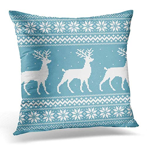 Cushion Cover 45x45cm/18x18inches Reindeer Christmas Blue Knitted Winter Sweater Pixel Deer Abstract Home Decor Throw Pillow Cover Square Pillowcase for Bed Sofa