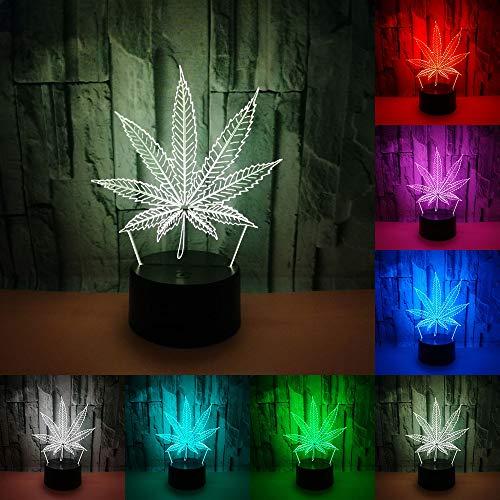 3D-LED-Nachtlicht im Blatt-Design, Touch-Schalter, USB-Anschluss, 7 Lichtfarben, Acryl, Weed-Tischlampe, kreatives Spielzeug, Geschenk