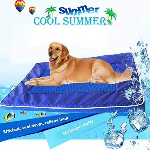 RIRUI Hond Bed, Huisdier Zomer Warmte-Afvoerende Koelende Ice Pad, Afneembare Hond Matras, Waterdicht, Niet Vervormbaar, Ademend En Comfortabel 28 * 44 * 3.5 Blauw