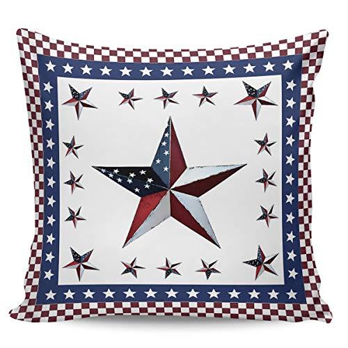Winter Rangers - Funda de almohada decorativa para el Día de la Independencia, diseño de pentagrama americano sobre fondo rojo a cuadros, ultra suave, cómoda funda de cojín cuadrada para sofá o dormitorio, 66 x 66 cm