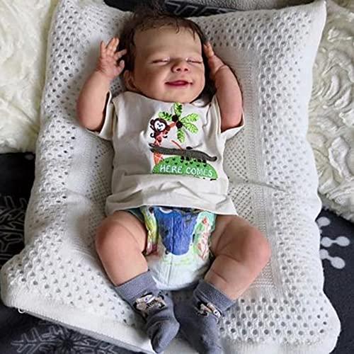 GYAM Muñecas de bebé realistas Hechas a Mano de Silicona Suave bebés realistas Lindas muñecas recién Nacidas Traje Blanco muñecas Reborn niño
