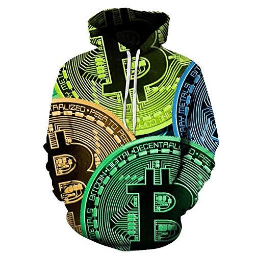 Felpe con Cappuccio,Moda Uomo e Donna Felpa 3D con Stampa Bitcoin per Gli...